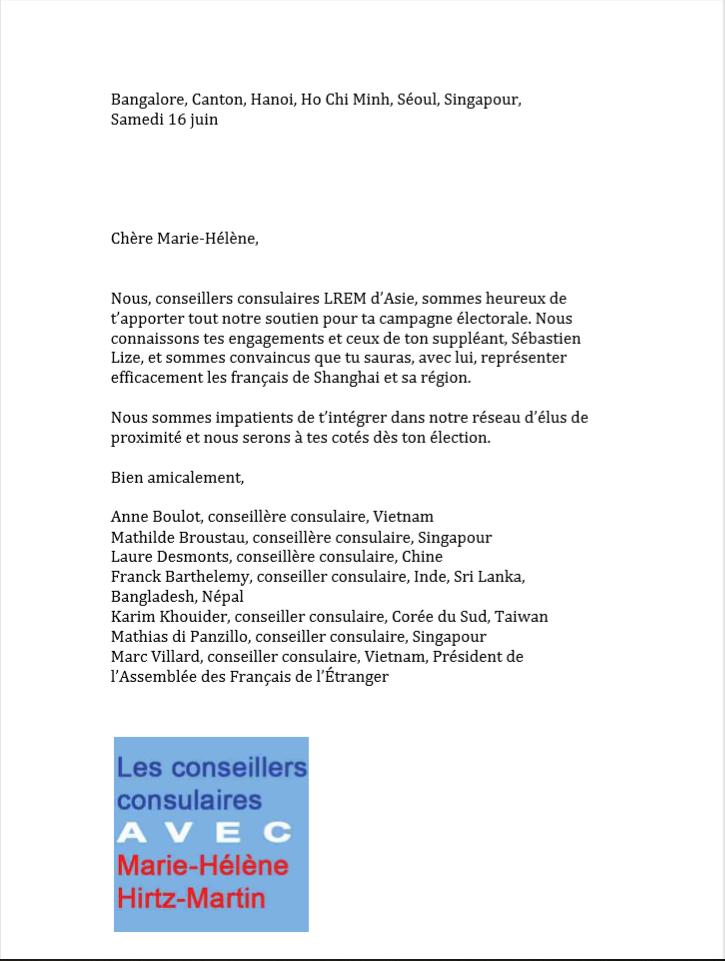 image from Soutien des conseillers consulaires LREM d'Asie